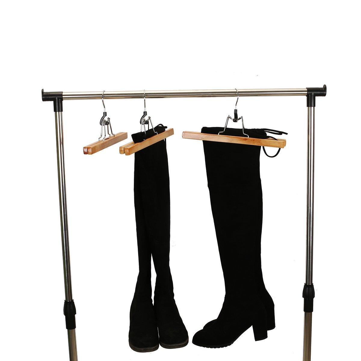 Pants Shorts,Natural Finish Slacks meqution Wood Pants Skirt Hanger,Natural Solid Wooden Collection Slack Hangers with Anti-Rust Hook for Skirts Set of 8 Jeans
