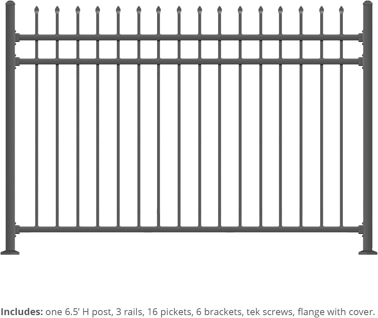 XCEL - Black Steel Fence Panel Aspen Style - 6.5ft W x 5ft H - Outdoor Fencing for Yard, Garden, Swimming Pool, on Concrete or Soil, 3-Rail Rackable, One Post Included, Powder-Coated Mental Fence