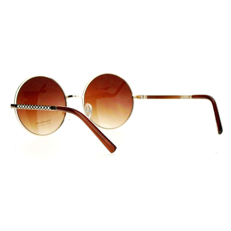 2aa5dabbb7 Amazon.com  SA106 Womens Round Circle Lens Rhinestone Bling Arm Retro  Sunglasses Gold Brown  Clothing