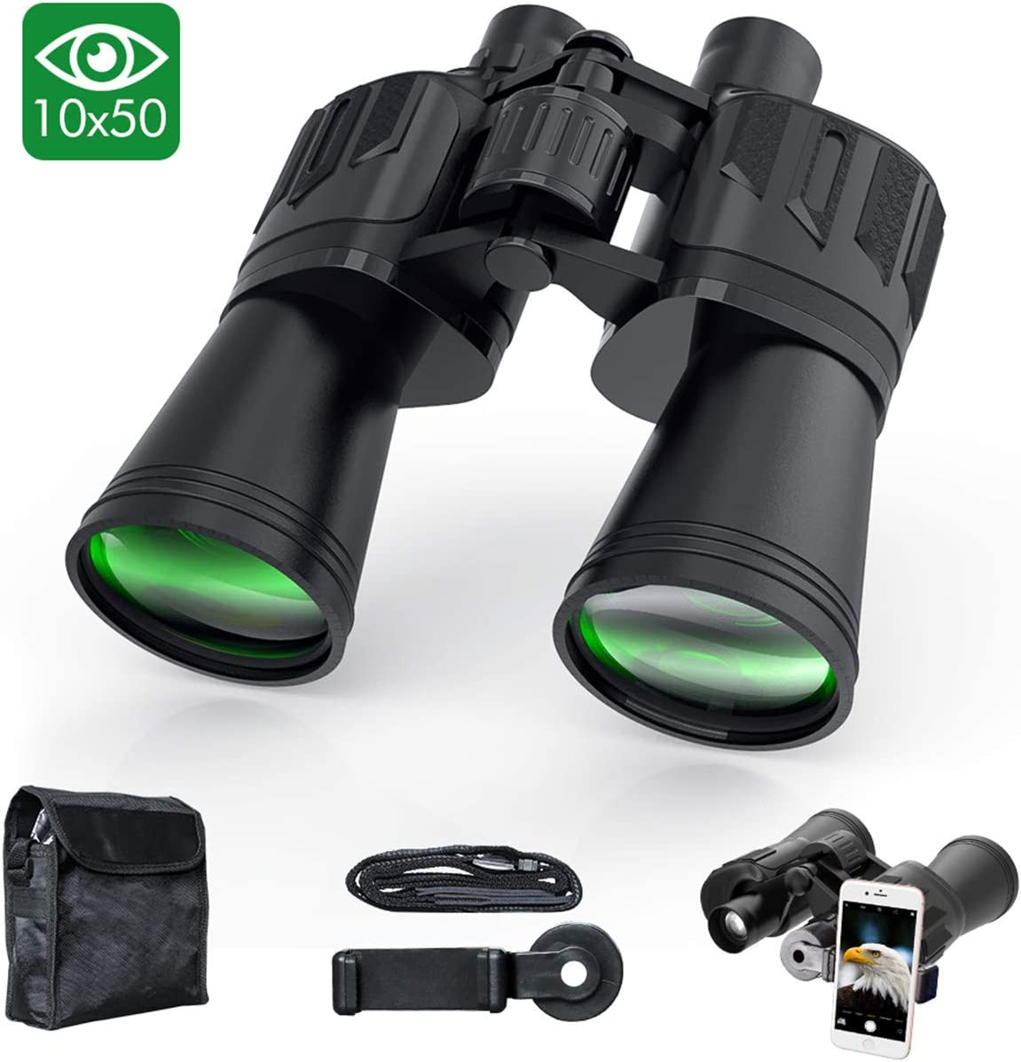 Binoculars for Adults, Sinohrd 10×50 Compact Powerful HD Binoculars for Bird Watching,Traveling,Hunting,Concerts,Sightseeing Telescope with Strap Carrying Bag Phone Mount