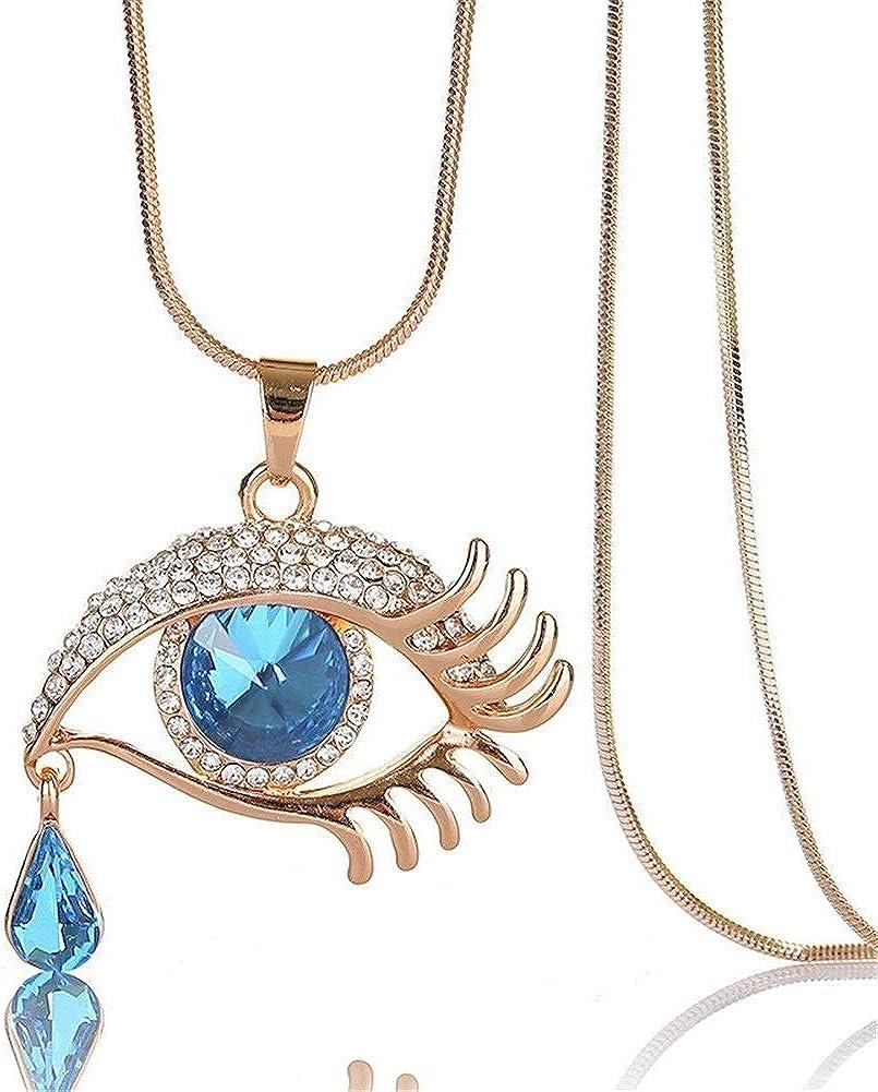 Yuhualiyi123 Collar Enlace Forma Cristal Artificial De La Piedra Preciosa Oval De La LáGrima De Los Ojos del Grano De La Cadena Colgante del DiseñO
