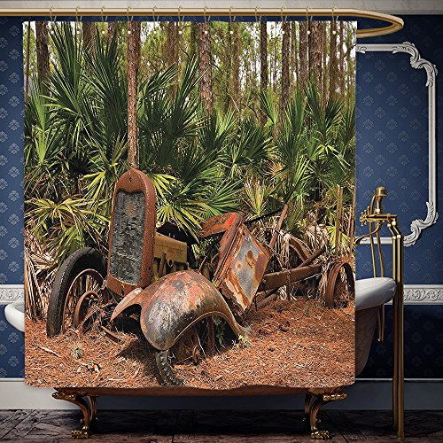 Wanranhome Custom-made shower curtain Rustic Decor Rusty Tractor Mule Truck Deep in Forest with Tropical Palm Trees Image Decor Brown Green For Bathroom Decoration 69 x 72 inches