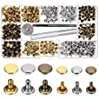 Bememo 180 Set 2 Sizes Leather Rivets Double Cap Rivet Tubular Metal Studs with 3 Pieces Fixing Tool for DIY Leather Craft, Rivets Replacement, 3 Colors (Gold, Silver and Bronze)