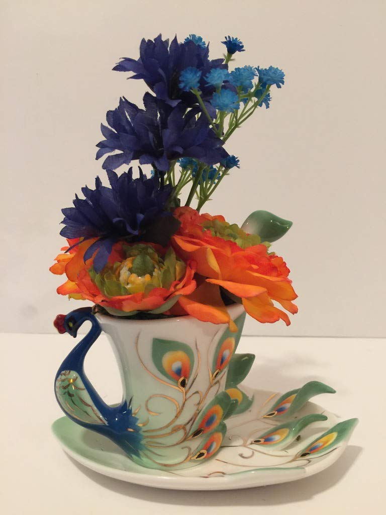 ANIMAL FUN - GREEN, ORANGE, BLUE PEACOCK VASE - ORANGE AND GREEN PEONIES AND BLUE MIXED FLORAL - UNIQUE GIFT - SMALL RESIDENCES - DORM ROOMS - OFFICES - ANY OCCASSION