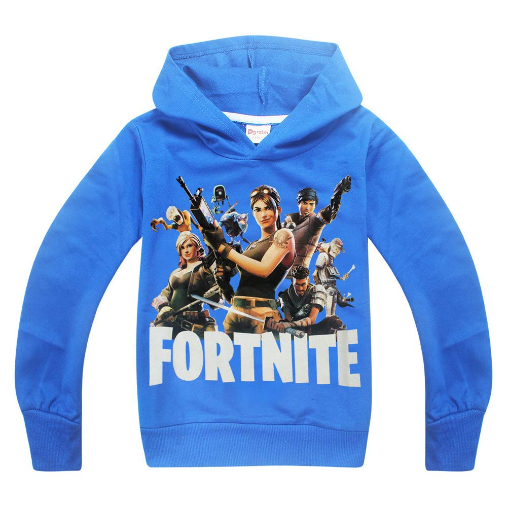 Kids Necessaries Fortnite Hoodies Youth PS4 Gaming Unisex Top Sweaters Jumper Long Sleeve Jackets with Zippers for Boys and Girls (Fortnite Team-BL, Age:12-13Y/160) by Kids Necessaries