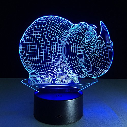 JSTMYYXGS 3D Night Light, Rhino 3D Acrylic Table Lamp Bedroom Bedside Lamp LED Night Light Creative Gift Lighting, (Size : with Music Player) by JSTMYYXGS (Image #2)