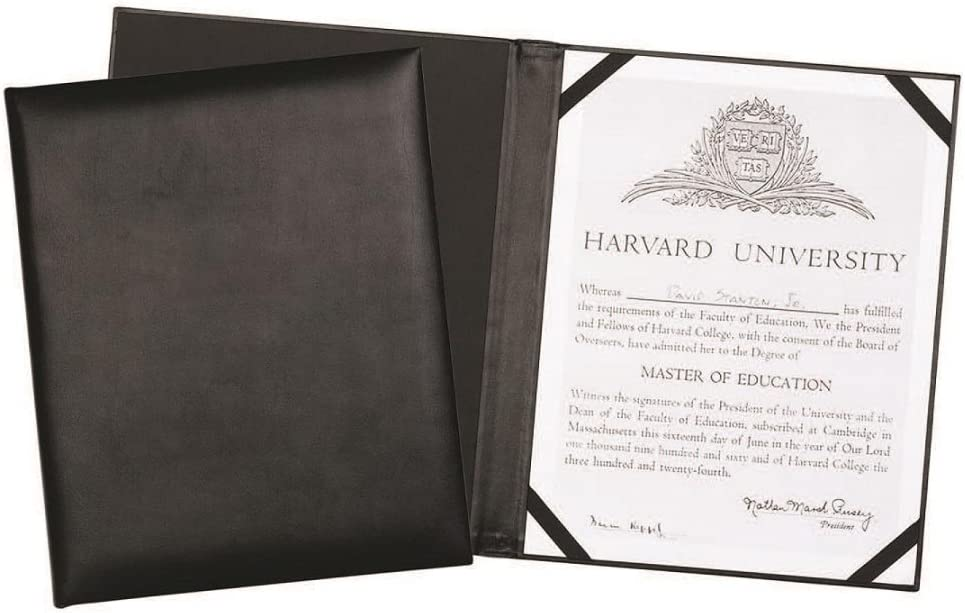 """Leather Certificate Menu Holder or Wine List Diploma Cover Holds one 8.5"""" x 11"""" Insert with Clear Protective Cover. Black"""