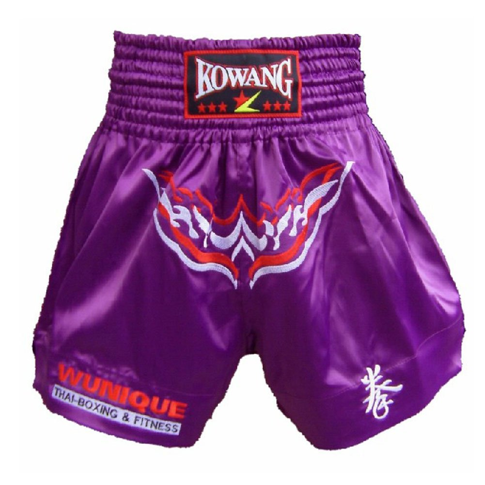 Embroidery Fight MMA Shorts Kick Boxing Brief Muay Thai Trunks Purple, XXL PANDA SUPERSTORE PS-SPO2438345011-CHILLY00226