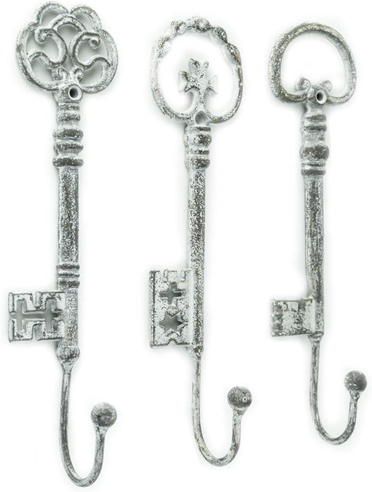 Red Co. Vintage Oversized Key Hooks, Set of 3 - Shabby Chic Décor