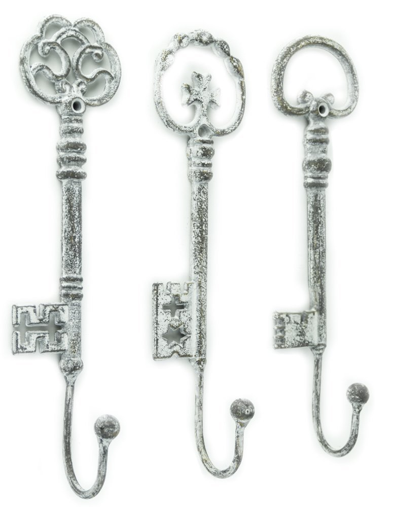shabby chic decor vintage oversized key hooks set of 3 new ebay. Black Bedroom Furniture Sets. Home Design Ideas