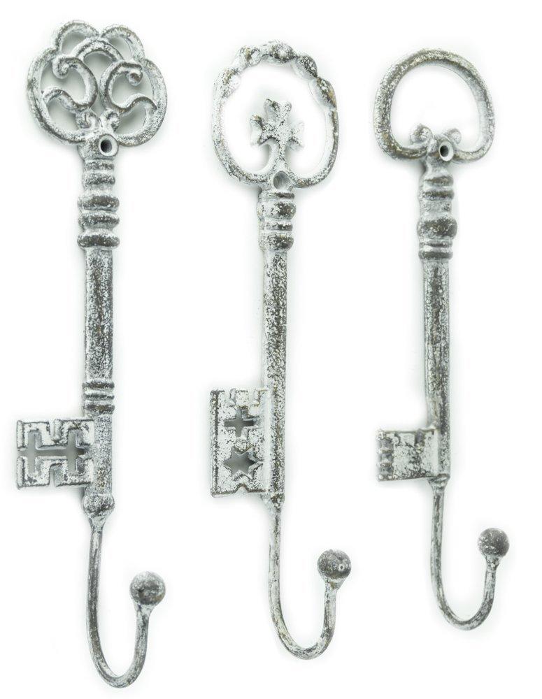 Vintage Oversized Key Hooks, Set of 3 - Shabby Chic Décor