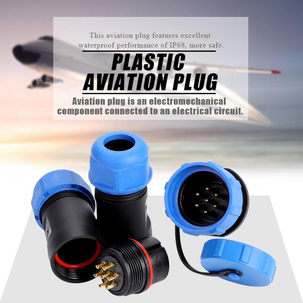 SP21 IP68 2//3//4//5//7//9//12Pin Waterproof Aviation Plug Socket Cable in-line Circular Connector Reliable Thread for Lighting Equipment 5Pin