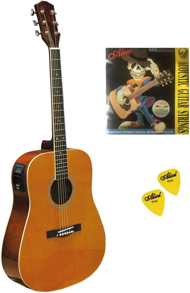 Kit guitarra acústica electrificada con Cuerdas y n.2Púas, LIGHT BROWN