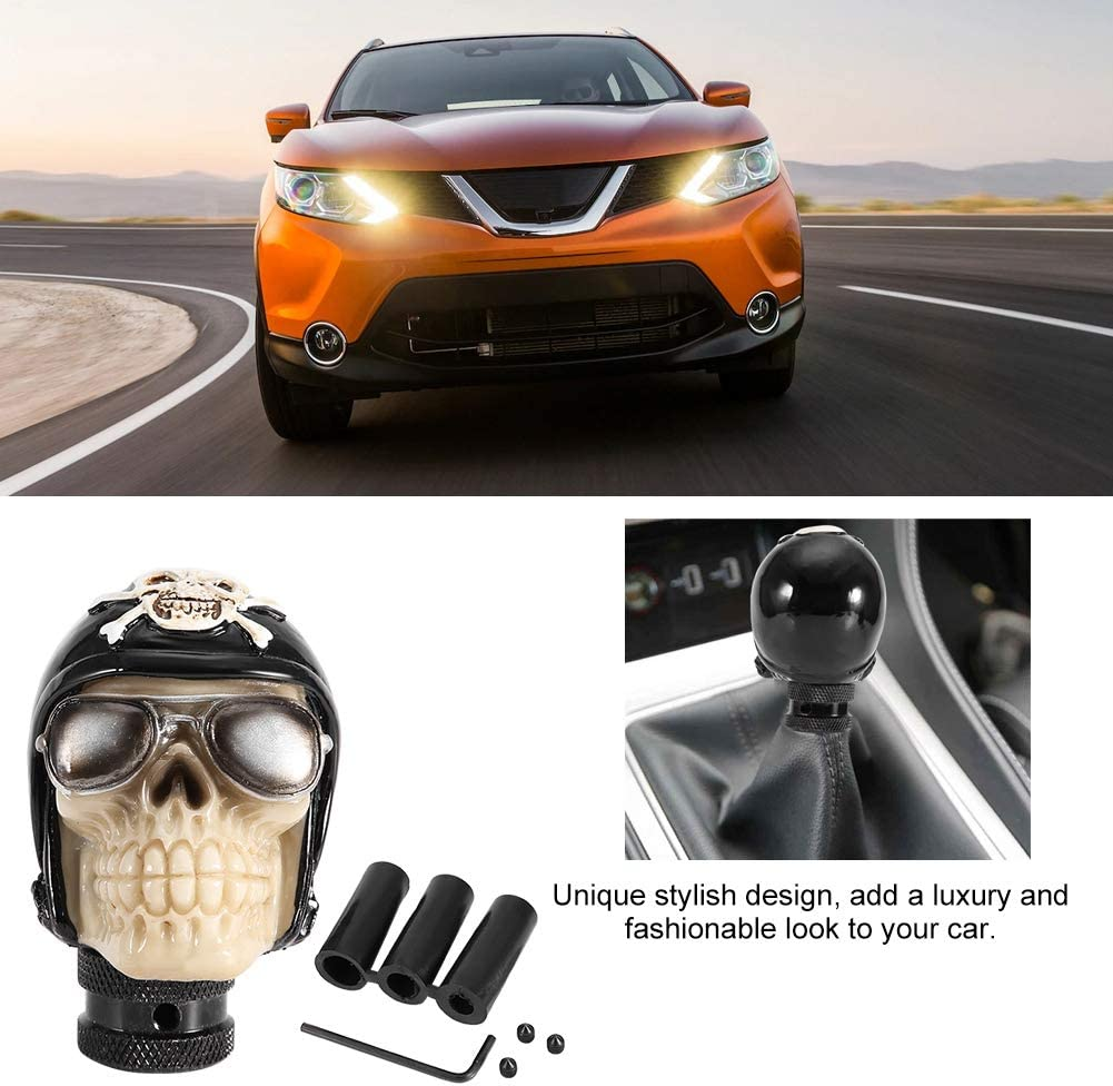 Car Lever Shifter 8mm 10mm 12mm Skeleton Skull Head Non-toxic Manual Gear Shift Knob Stick Anti-aging Universal