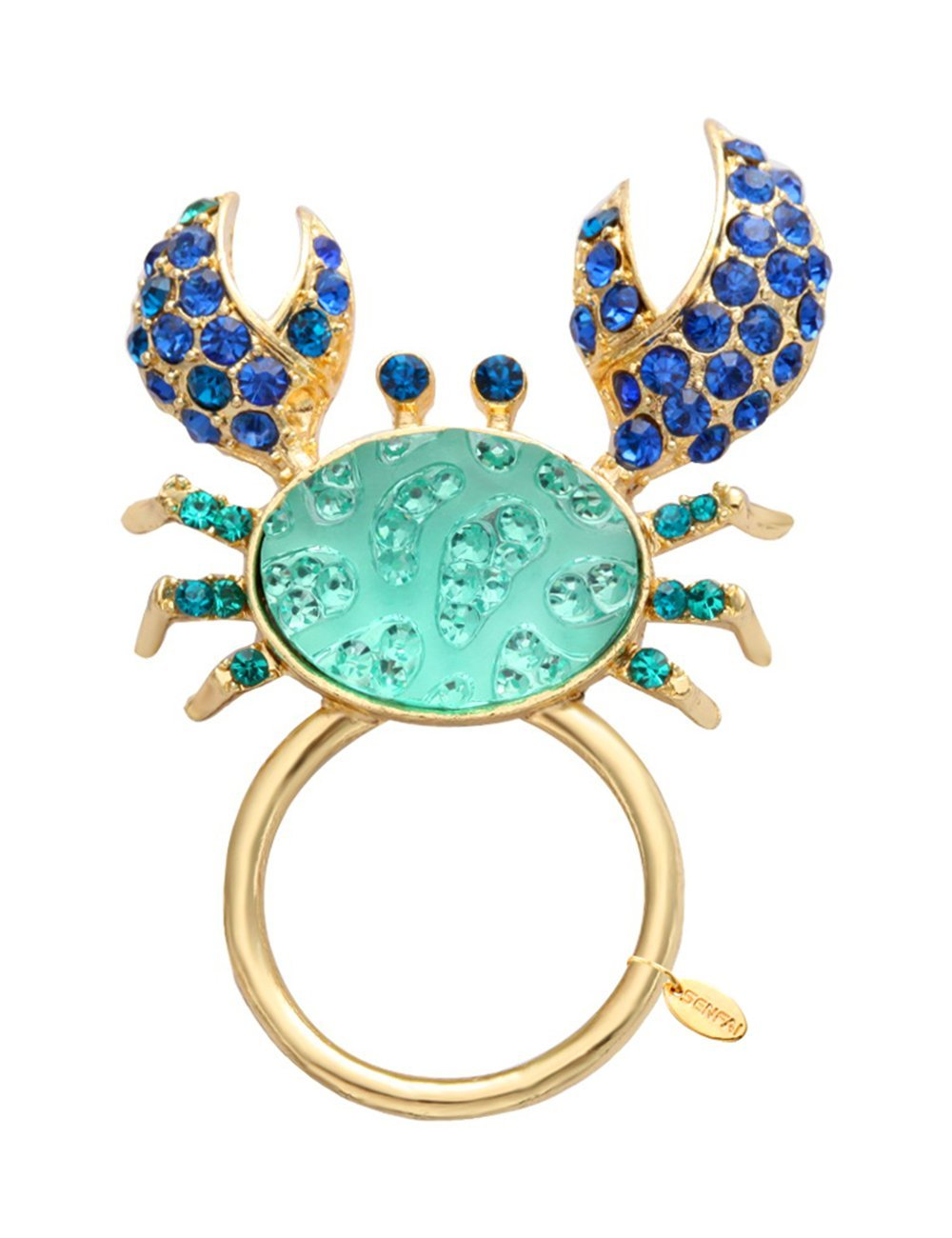 SENFAI Blue Color crab With Crystal Megnet Eyeglass Holder For Womens' Jewelry