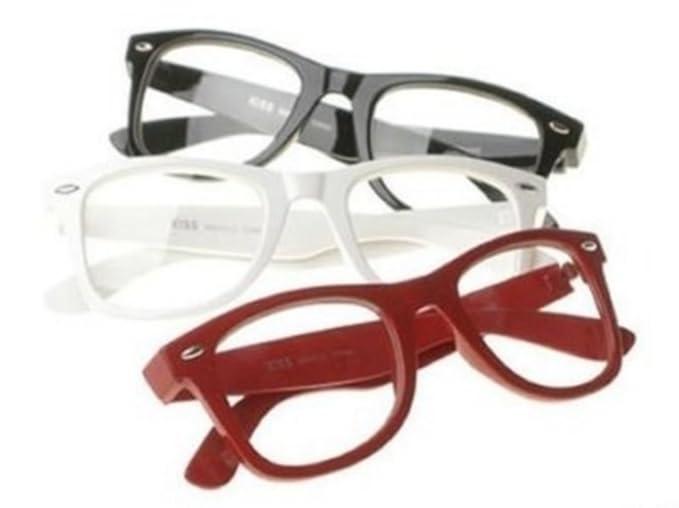 01158f6df942e Lunettes Monture style Wayfarer Geek Retro Vintage 80s - Monture Noir - Verres  Neutre Transparent - Fashion - Tendance PIPEL