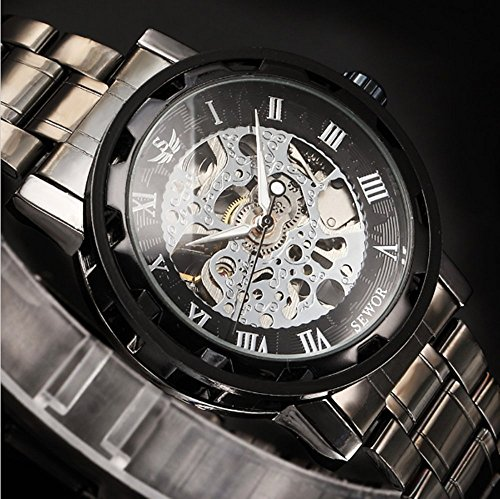 ALPS Mens Watch Luxury Skeleton Black Stainless Steel Mechnical Hand Wind Dress Watch