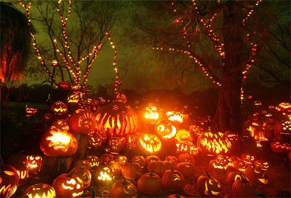 AOFOTO 5x3ft Halloween Pumpkins Backdrop Jack Lanterns Candy Photography Background Hallowmas Eve Celebration Family Gathering Events Parties Decoration Performance Decor Vinyl Photo Booth Prop