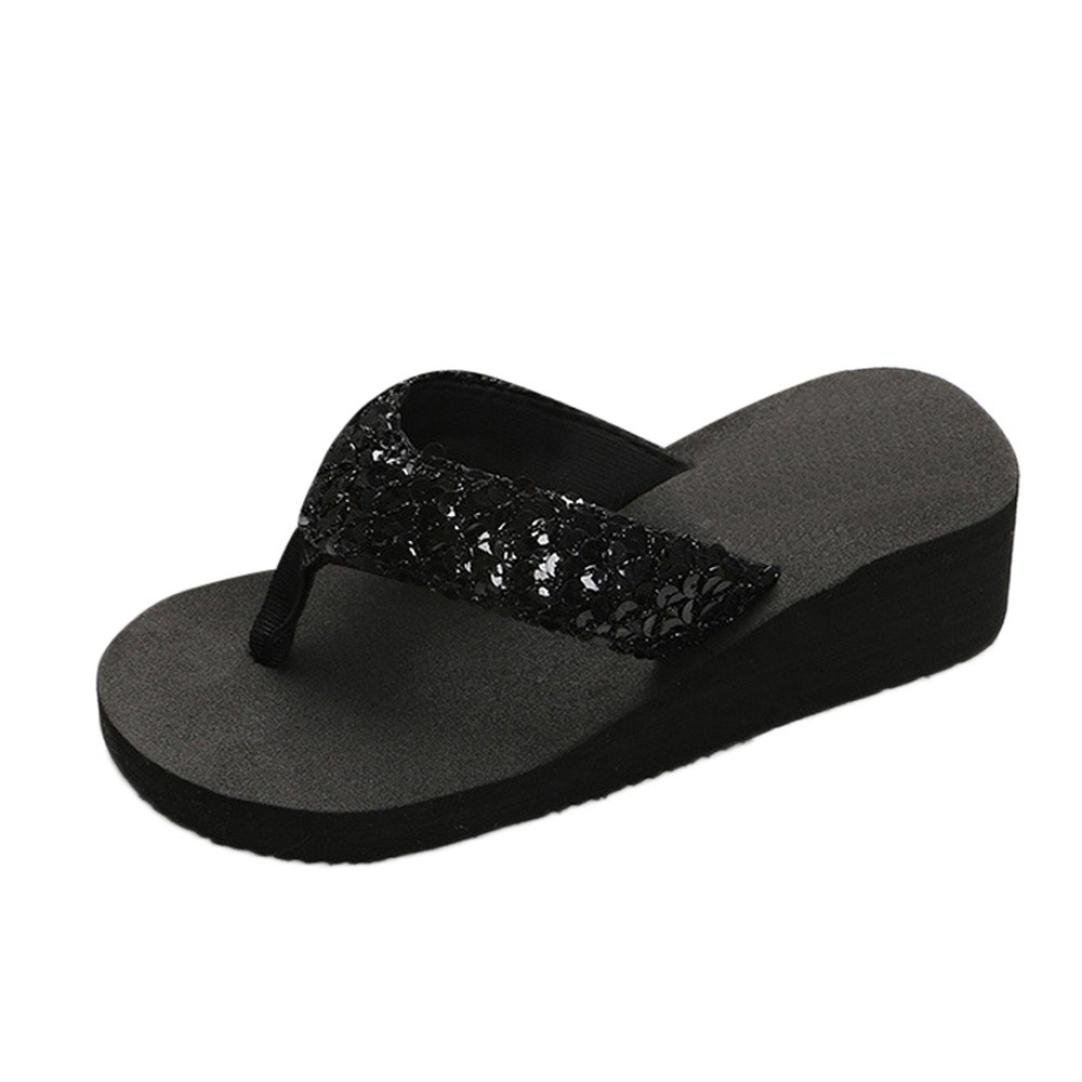 Inkach Flip Flops Sandals - Fashion Womens Sequins Summer Wedge Sandals Chunky Heeled Slippers (36(US:7), Black)