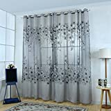 Norbi Floral Tulle Voile Door Window Room Curtain Drape Panel Sheer Decorative