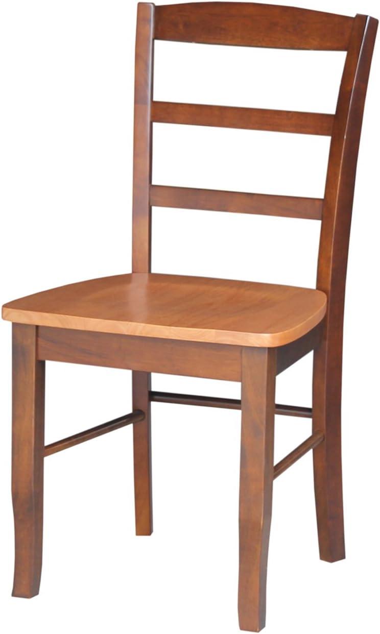 International Concepts Pair of Madrid LadderBack Chairs, Cinnamon/Espresso