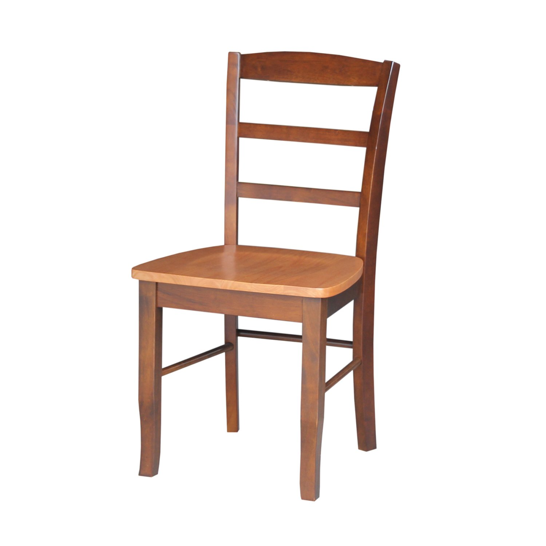 International Concepts Pair of Madrid LadderBack Chairs, Cinnamon Espresso