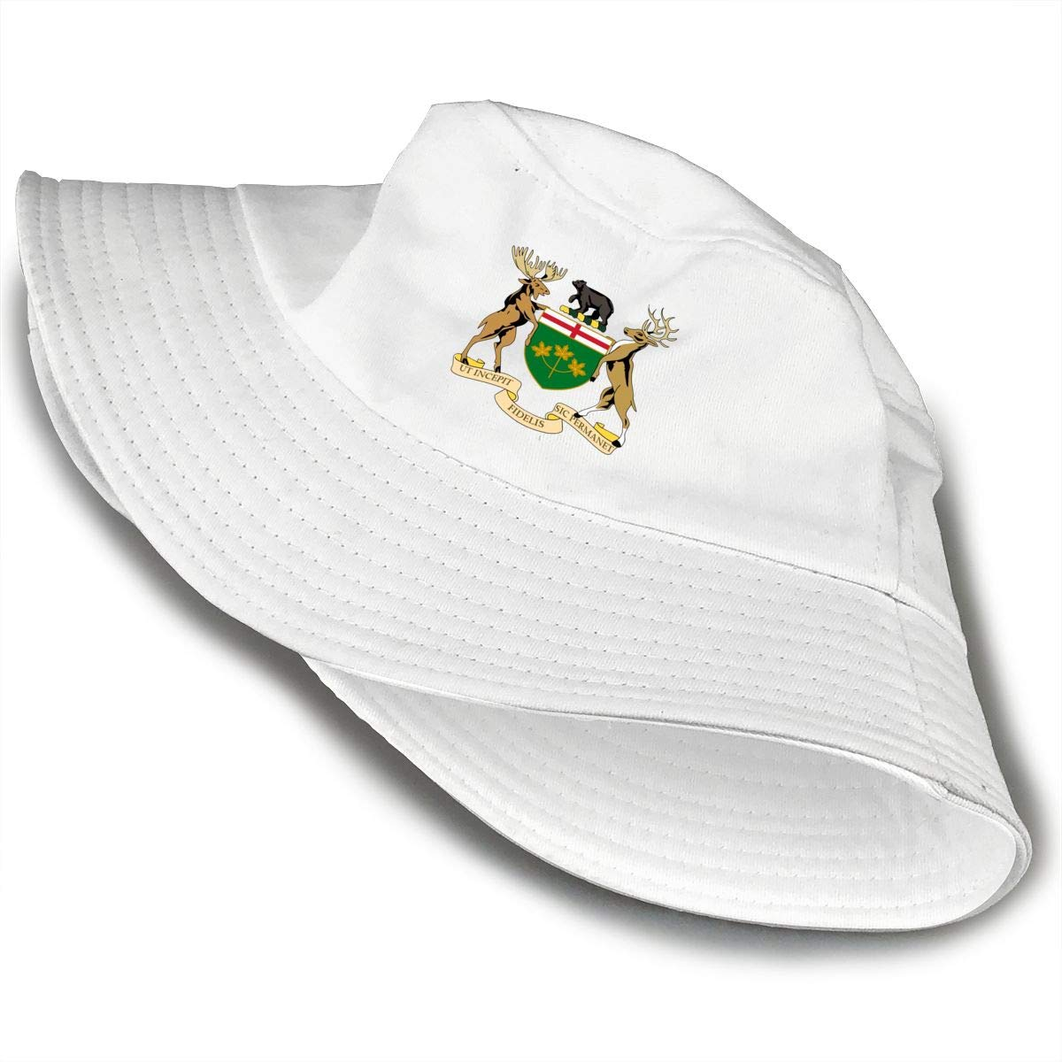 NDFGR Coat of Arms of Ontario Unisex Cotton Packable Black Travel Bucket Hat Fishing Cap