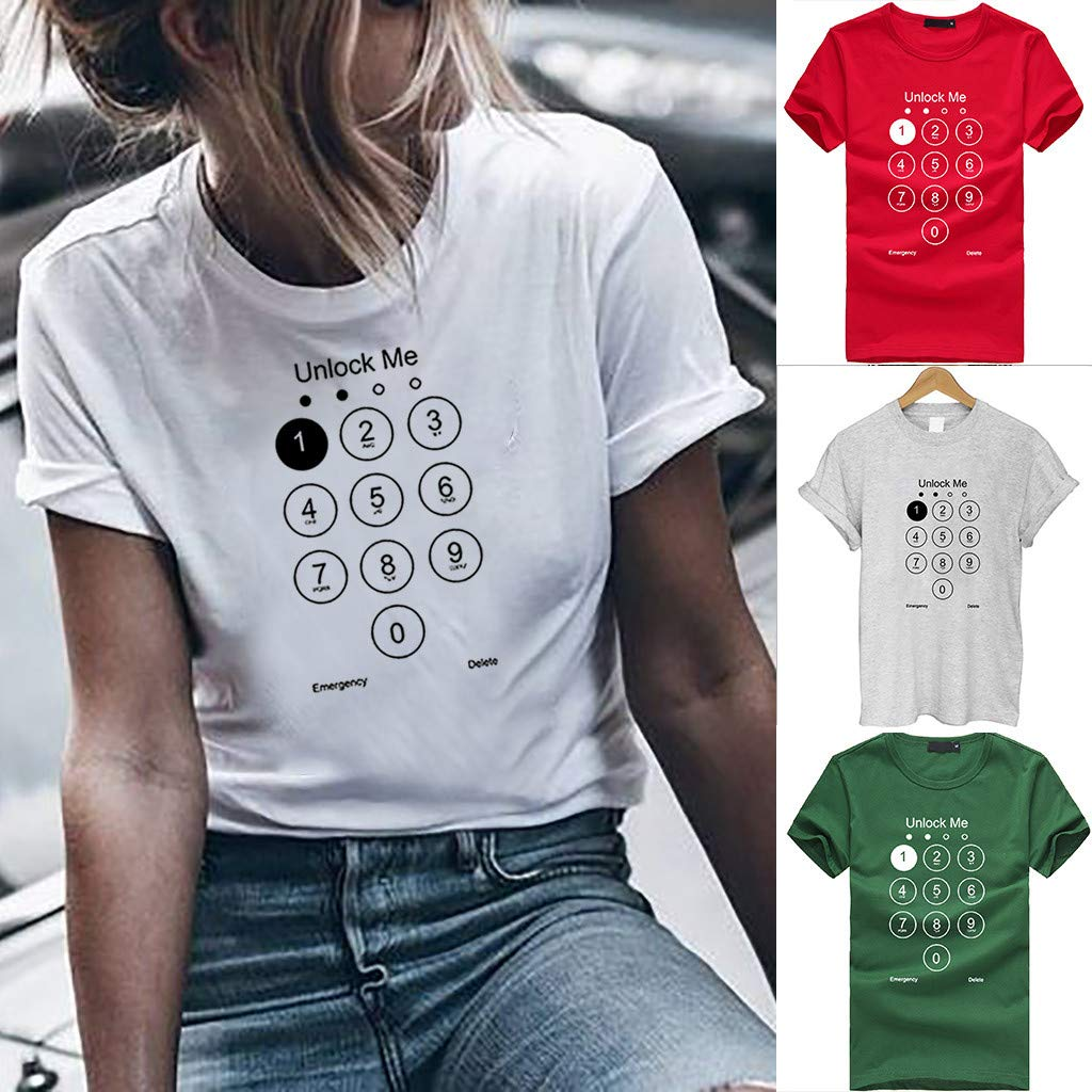 Tantisy /♣↭/♣ Womens Plus Size T Shirt O-Neck Short Sleeve Blouse Girls Unlock me Letter Print Number Tops Tees ✦‿✦