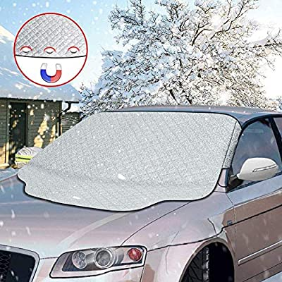 Car Windshield Snow Cover, Magnetic Fixation Foldable Removable Windshield,Sun UV Dust Wind,No More Scraping Car Fits Most Car, SUV, Truck