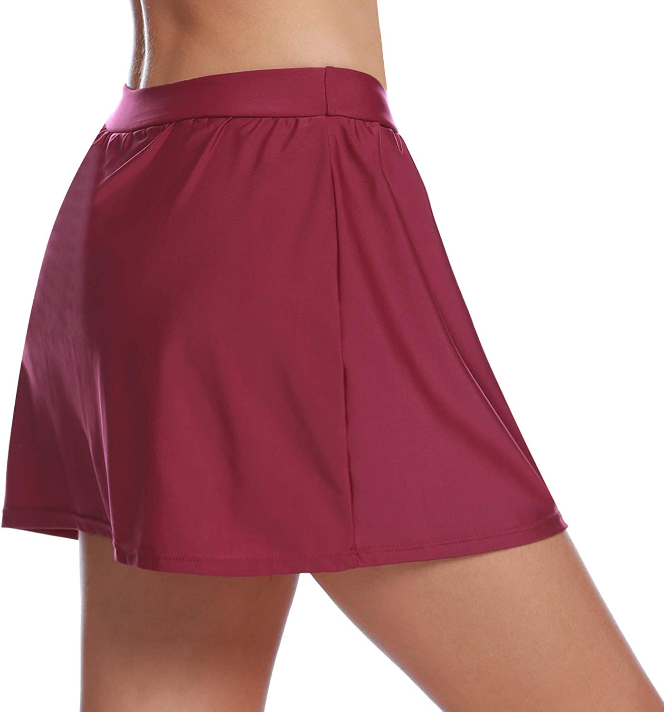 Abollria Womens Swim Skirt with Briefs Tankini Swimwear Bottom Beach A-Line Swimming Dress
