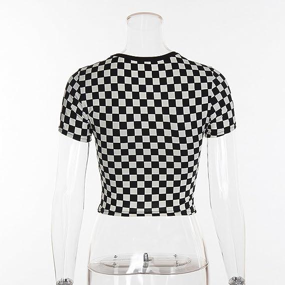 Siennaa Top T-Shirt Damen Sommer, Teenager Mädchen Mode Plaid Crop Top  Bauchfrei Shirt Bluse Karierte Party Oberteil Sport Kurzes Tank Top Hemd  Frauen ... 85173fa9a8
