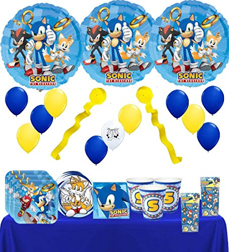 Combined Brands Sonic The Hedgehog Party Supply and Balloon Bundle for 8 Guests]()