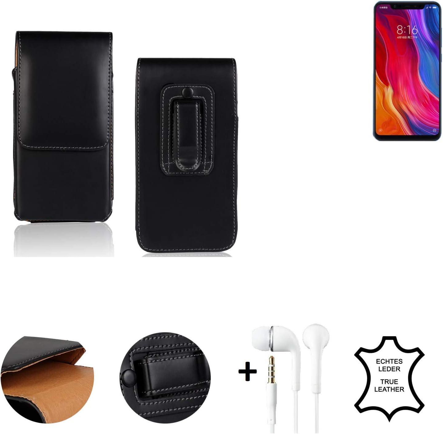 K-S-Trade® Funda + Auriculares para Xiaomi Mi8 Youth, La Bolsa De Cinturón De Cuero De Imitación Color Negro Caso Bolso Cuero Genuino