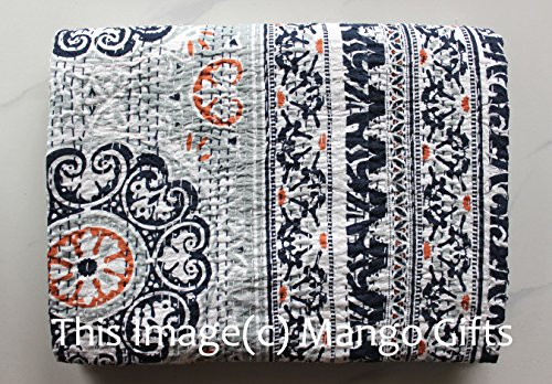 Mango Gifts Pure Cotton Kantha Style Twin Size Quilt Bed Spread, Indian Gudri Bed Cover 60 X 90 Inches Approx