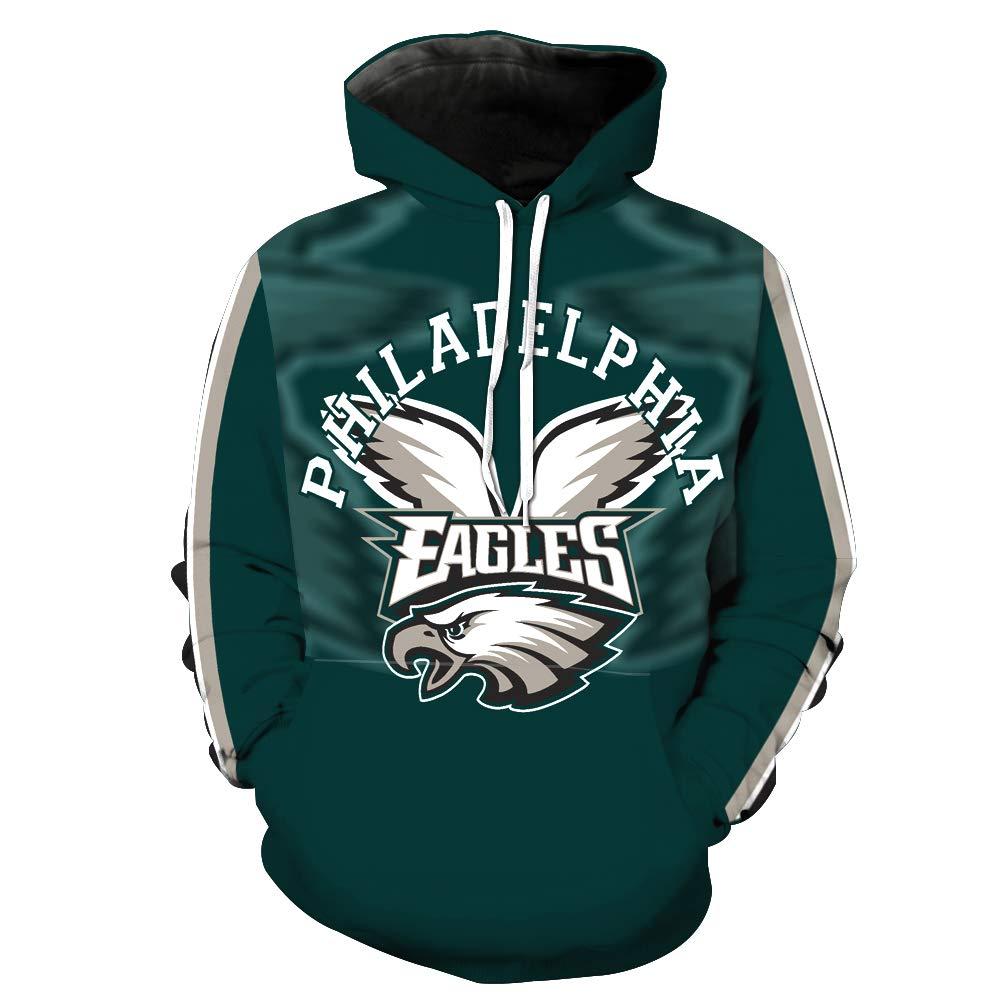 ab6cb019 Men's Hooded Long Sleeve 3D Digital Print Philadelphia Eagles Football Team  Sports Pullover Hoodies