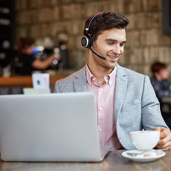 Jabra Evolve 65 Uc Stereo Wireless Bluetooth Headset / Music Headphones Includes Link 360 (U.S. Retail Packaging) by Jabra