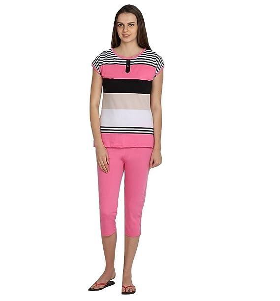eef8ed34fea29 Nightwear for Women - Night Suit - Summer Wear - Top   Capri Combo Set -  Sinker Material - Pink Color ...