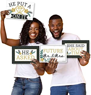 product image for Big Dot of Happiness She Said Yes - Photo Prop Signs - Engagement Announcements - 10 Pieces