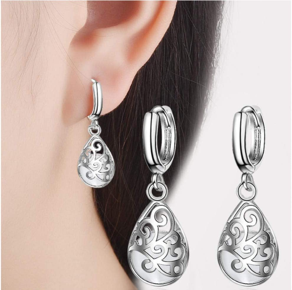 NOBRAND White Opal Stone Women Earring Hollow Design Earring For Women Jewelry de Plata