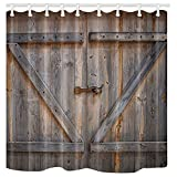 Rustic Shower Curtains KOTOM Rustic Decor Shower Curtain, Rustic Wooden Barn Door, Polyester Fabric Bath Curtains Set with Hooks 69W X 70L Inches