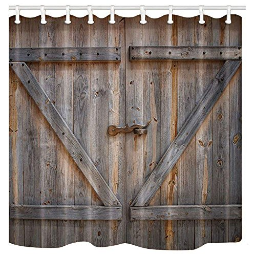KOTOM Rustic Decor Shower Curtain, Rustic Wooden Barn Door, Polyester Fabric Bath Curtains Set with Hooks 69W X 70L -