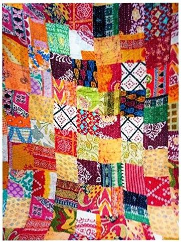 Vintage Indian Handmade Patchwork Twin Cotton Kantha Quilt Throw Blanket Gudari