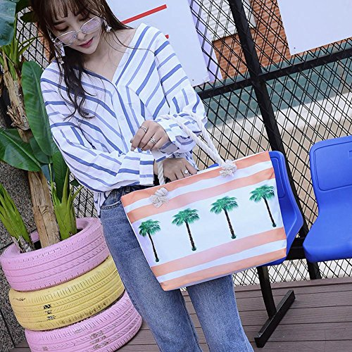Coconut 2pcs Composite Beach Handbags Canvas Trees Everpert Shopping Sling Set Women Clutch Casual PpPwd4