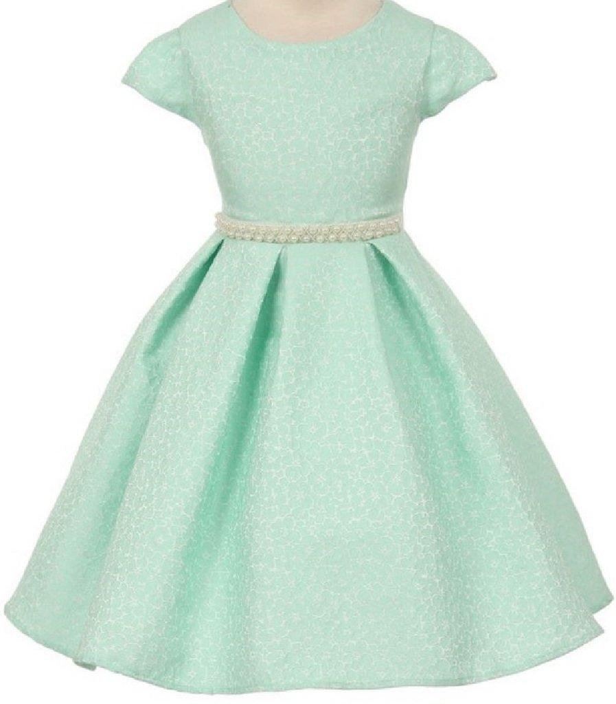 Little Girls Short Sleeve Jacquard Pearl Waistline Flowers Girls Dresses Mint 6