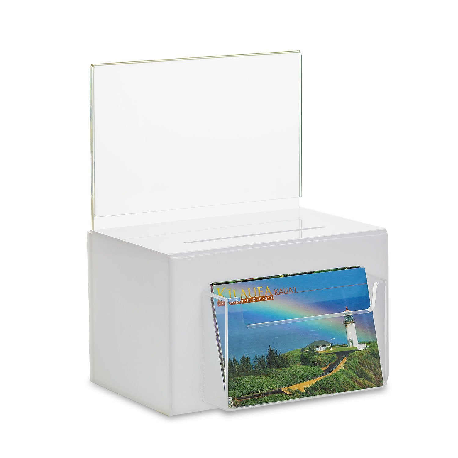 SourceOne Large Oblong Donation Box W/ 8 1/2 x 11 Sign Holder (White w/Pocket) by SOURCEONE.ORG