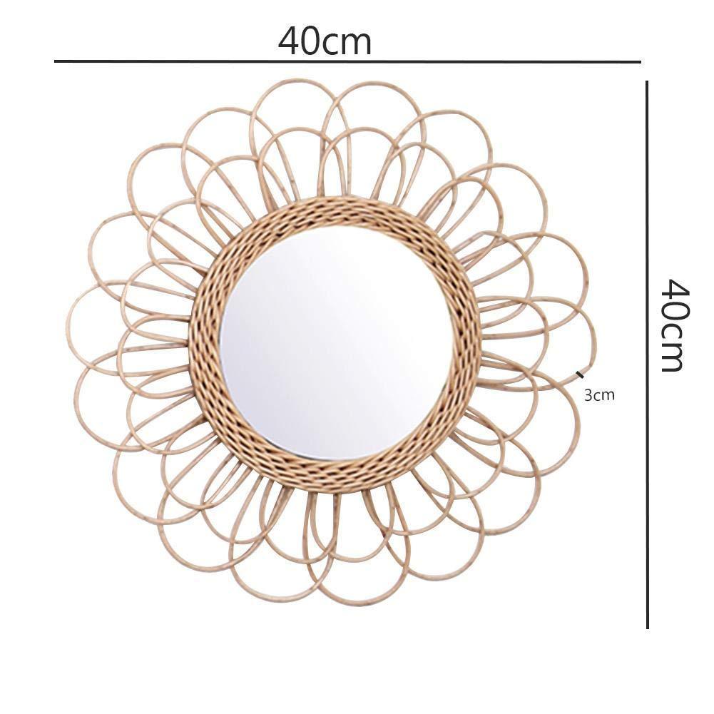 Guajave a Forma di Girasole Specchio da Parete Circolare in Rattan Decorazione Boho Vimini
