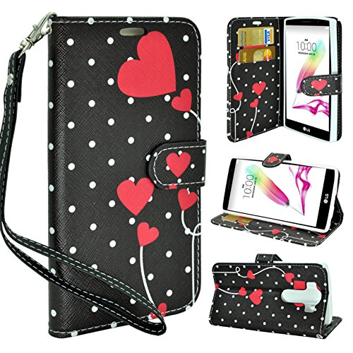 LG V10 Case, Customerfirst - Flip PU Leather Fold Style Design Pouch Case Premium PU Leather Card Flip Case for LG V10 Cell Phone Wallet Case With Wrist Strap (Dotted Hearts)