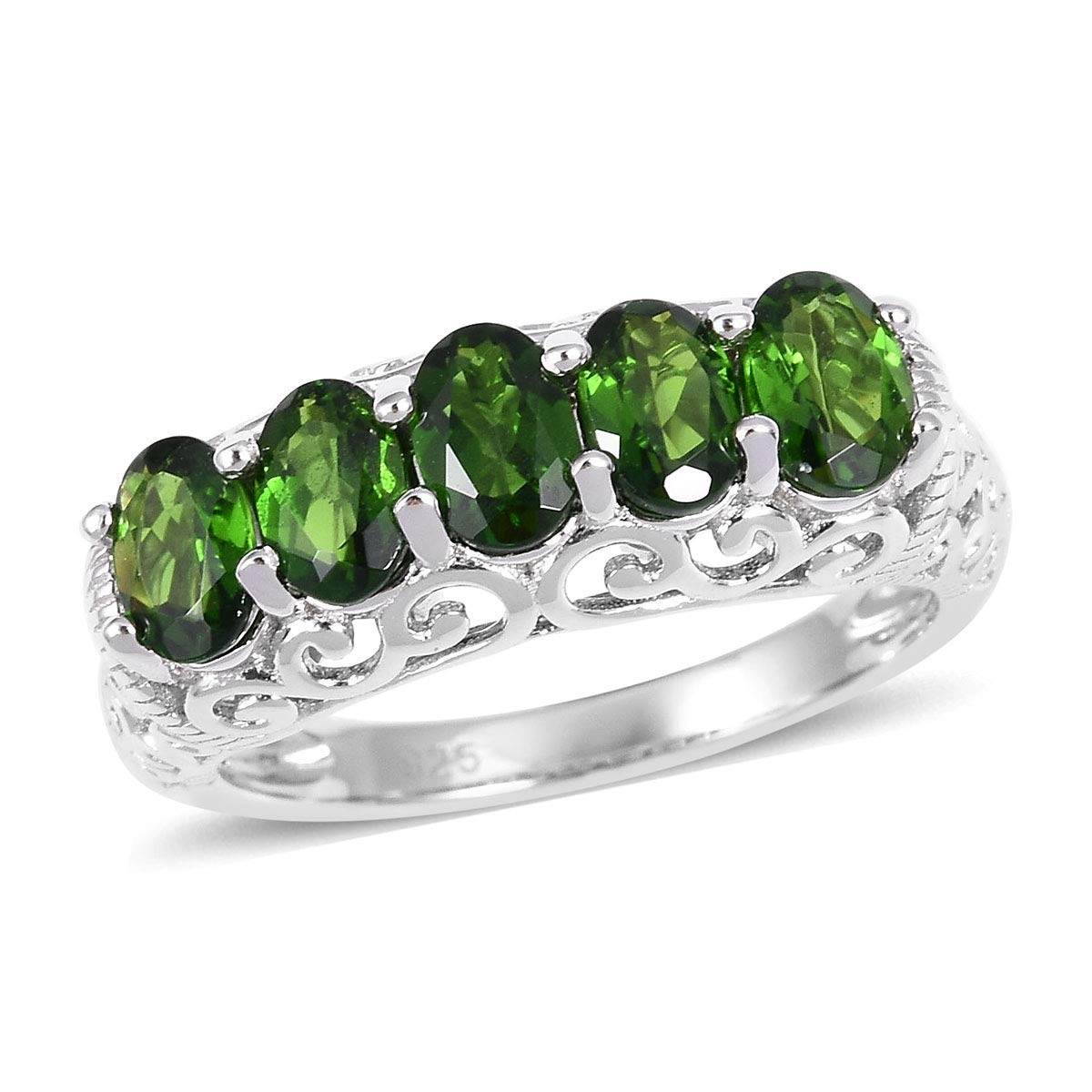 5 Stone Ring 925 Sterling Silver Oval Chrome Diopside Gift Jewelry for Women Size 5 Cttw 2.1