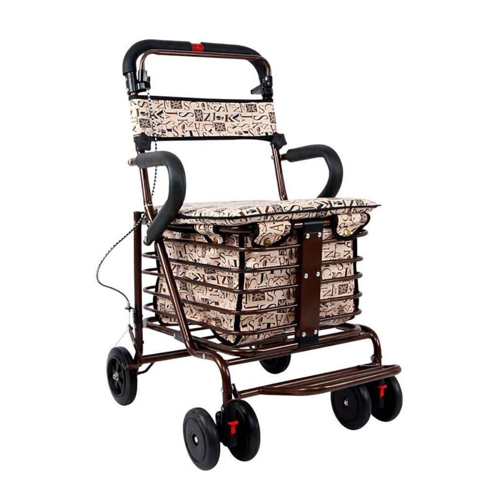 毎日 高齢者ショッピングカート/レクリエーション車/折りたたみ式ウォーカー/ウォーカー/リハビリ機器折り畳み歩行四輪ショッピングカートブロンズダブルホイールサイズ:60cm * 43cm * 85cm B07F5G2FNM