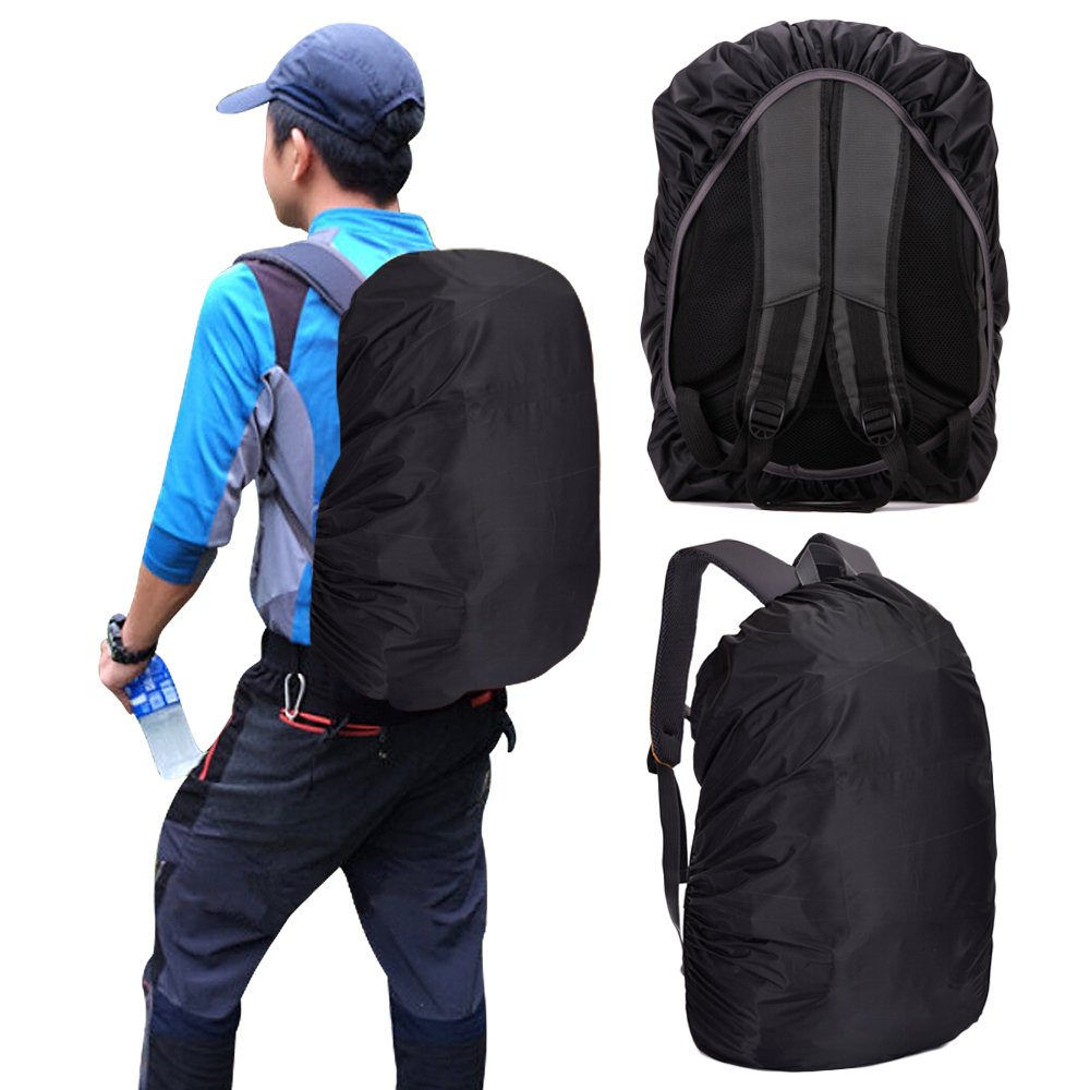 Waterproof Backpack Cover for School Bags Outdoor Activities Bags Luggage Bags Rain/Dust Cover Black 35-40 L